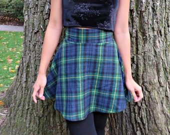 Green, Blue, and Yellow Cotton Plaid Flannel Skater Skirt