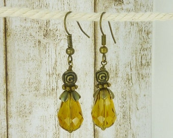 Earrings crystal drops dark topaz yellow amber