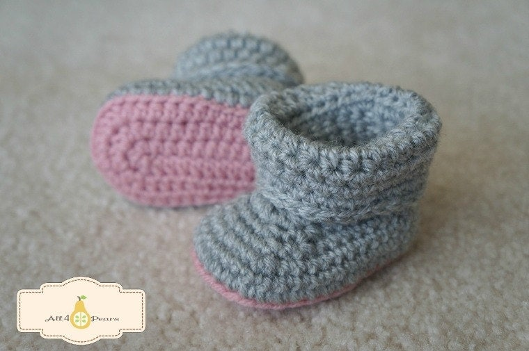 Crochet Cuffed Baby Booties Pattern : Cuffed Baby Booties Crochet Pattern
