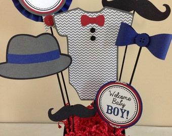 SALE Custom Little Man Mustache Baby Shower Centerpiece Decoration