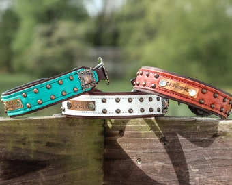 Leather Dog Collar // PERSONALIZED