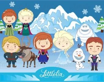 Snow princess Elsa - Frozen clipart - Elsa Anna clipart - 14021