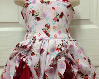 Boutique Quality Handmade Peekaboo Dress minnie mouse Inspired sizes newborn - girls 8