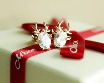 E026 Crystal Cubic Zirconia Christmas Reindeer Stud Earrings Post Earrings Pierced Earrings with Gold Plated & 925 Sterling Silver Post