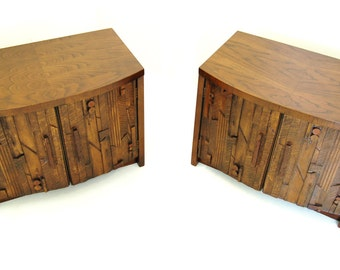 BRUTALIST Pair of Nightstands by Lane in Style of Paul Evans. Mid Century Cubist. 1970's. RC003
