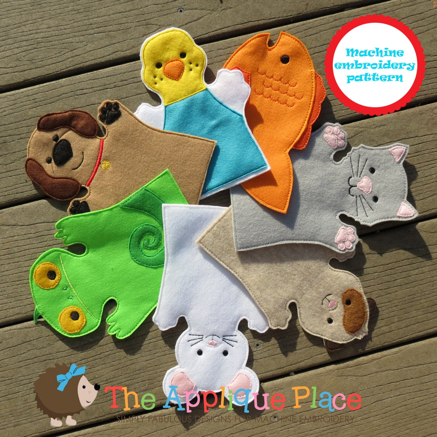 Pattern set of pet hand and finger puppets in the hoop ith