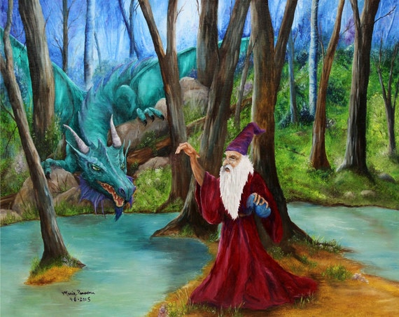 Dragon and Wizard Fantasy Art Original Oil Painting 16in x