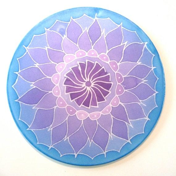 "Lotus flower Silk Mandala 10"" Ø, silk painting for meditation and yoga"