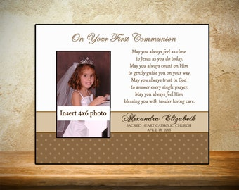Personalized First Communion Frame - Tan Theme