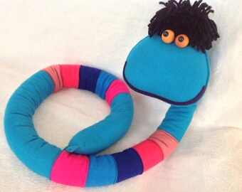 Friendly,happy , colorful snake, handmade of felt and yarn,toy, for gift, decoration