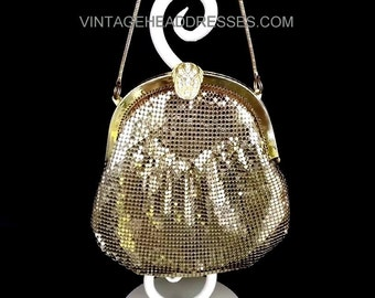 Vintage Gold Art Deco Bag, 1930's Mesh Bag, Gold Art Deco Purse, Whiting & Davis Style Gold Mesh Purse, Vintage Bridal Bag, Gold Wedding Bag