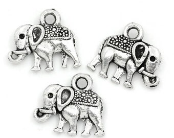 5 Antiqued Silver Elephant Charms
