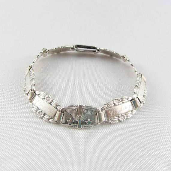 vintage sterling silver forget me not bracelet by