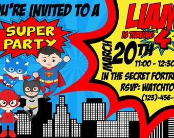 PERSONALIZED Printable Superheroes Birthday Party Invitation