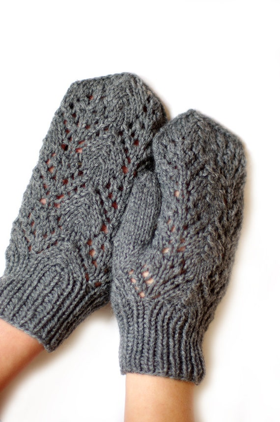 Lace Mittens Knitting Pattern : Womens Romantic Lace knitted Mittens gloves warm by ESTtoYou