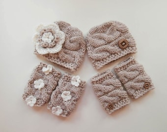 Baby Twins Outfits -  Hats and Leg Warmers for Twins - Crochet Newborn Photo Prop - Newborn Baby Twins