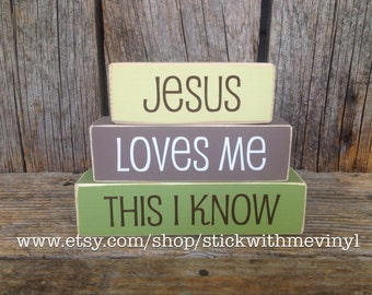 JESUS love me blocks, MiNi wood blocks, JESUS loves Me, this i KNOW sign, mini STaCKER block set child baby family home decor nursery