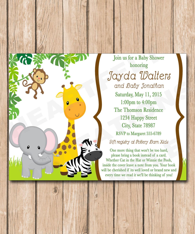 jungle baby shower invitation book request neutral safari