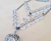 Silver Heart Necklace | Vintage Necklace with Silver Heart Charm and Glass Beads