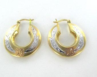 14 karat yellow white rose gold hoop vintage flower diamond cut design