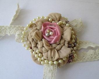 Vintage fabric wrist corsage