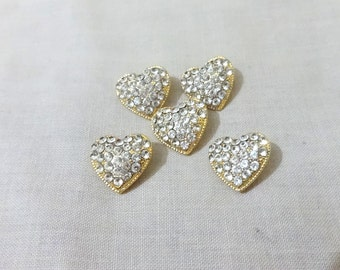 Rhinestone Button - Heart  Rhinestone Button | Gold and Rhinestone | Metal Button - 5 pcs