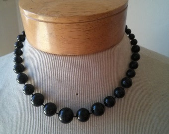 Vintage Collection - Mod Black Plastic Beads Short Necklace