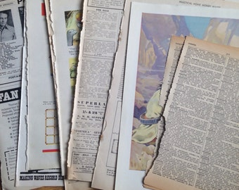 40 Ephemera Vintage Book and Vintage Magazine Pages assorted