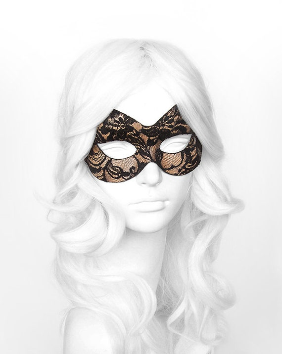 Nude & Black Lace Masquerade Mask Lace Covered Venetian