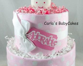 Girl Diaper Cake | Baby Diaper Cake | Pink Diaper Cake | New Baby Gift | Baby Shower gift | Baby Shower Decoration | Giraffe diaper cake