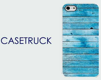 Blue Wood Image Geometric Pattern iPhone 4 4s 5 5s 5C 6 6S 6+ 6 Plus Custom Case Cover Plastic Rubber Silicone R80