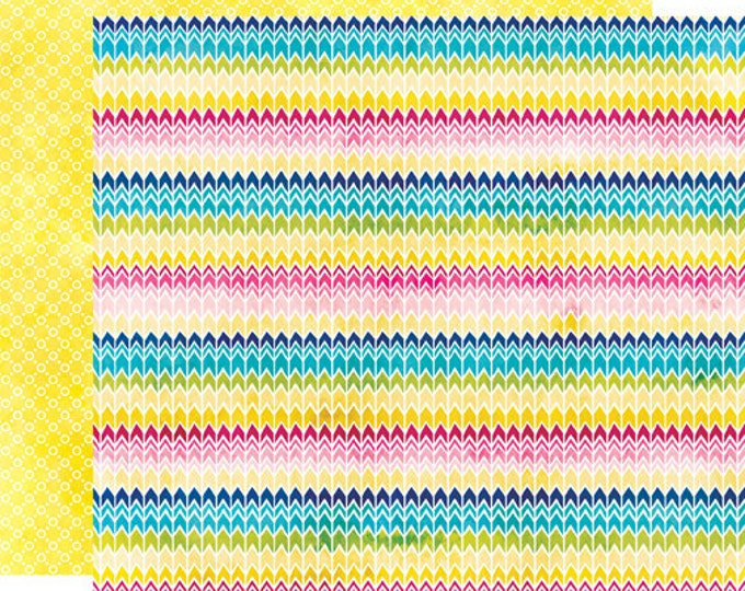 2 Sheets of Echo Park Paper HERE & NOW 12x12 Scrapbook Paper - Rainbow Chevrons