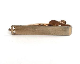 Swank Vintage Gold Tone Modern Etched Rectangular Tie Bar Tie Tack, Rectangle Minimal, Tie Bar, Tie Clasp, Tie Clip, Black Tie, Men's