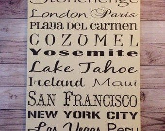 First Anniversary Gift Personalized Destination Sign Wood 1st Anniversary Gift for Wife Gift for Husband Personalized One Year Anniversary