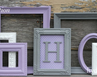 Baby Girl Nursery / Monogram Frame / Gallery Wall / Shabby Chic Decor / 7 Piece Distressed Picture Frame Set /  Benson Collection