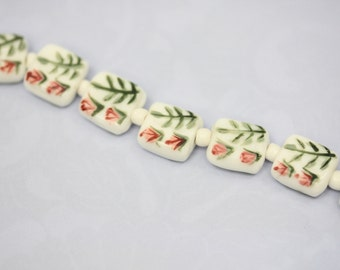 Hand Painted Blush Vine Square Beads