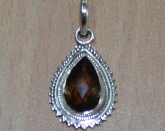 Smoky quartz pendant, 925 sterling silver Pendant- quartz jewelry, pendant, tear drop smoky quartz - Brown Gemstone Sterling Silver