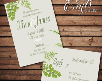 PRINTED Wedding Invitation - ferns