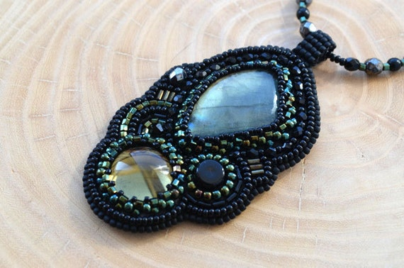 Bead embroidery necklace labradorite embroidered