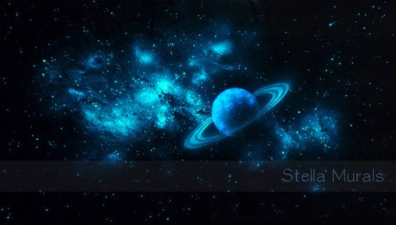 Glow In The Dark Star Ceiling Poster Planet With Nebula