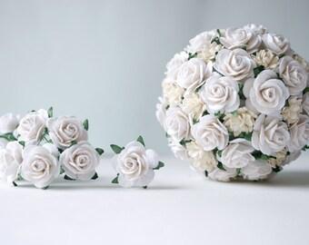 Paper Flower,50 pieces mini rose size 2.5 cm., White color.