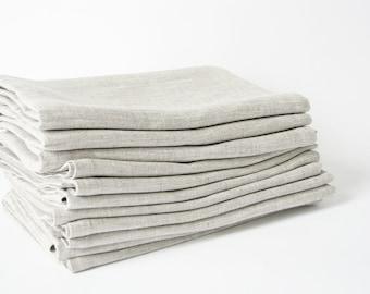 Linen napkins set of 12- light linen napkins- wedding table serving napkins- size 13 inch square- burlap linen napkin- oatmeal color linen