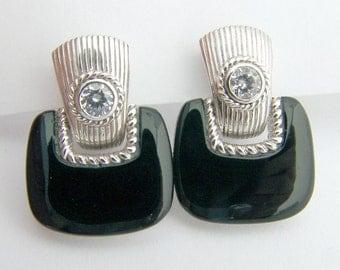 Designer Earrings Onyx Sterling Silver