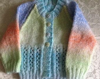 Multi Coloured Baby Jumper Knitted in James C Brett Magi-Knit DK
