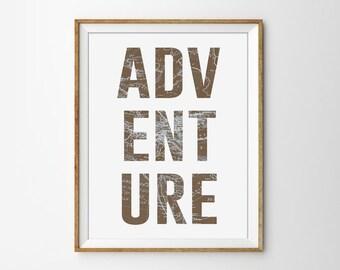 Adventure Typography Print. Vintage World Map. Vintage Inspired Art. Travel Poster. Office Art. Modern Wall Art.