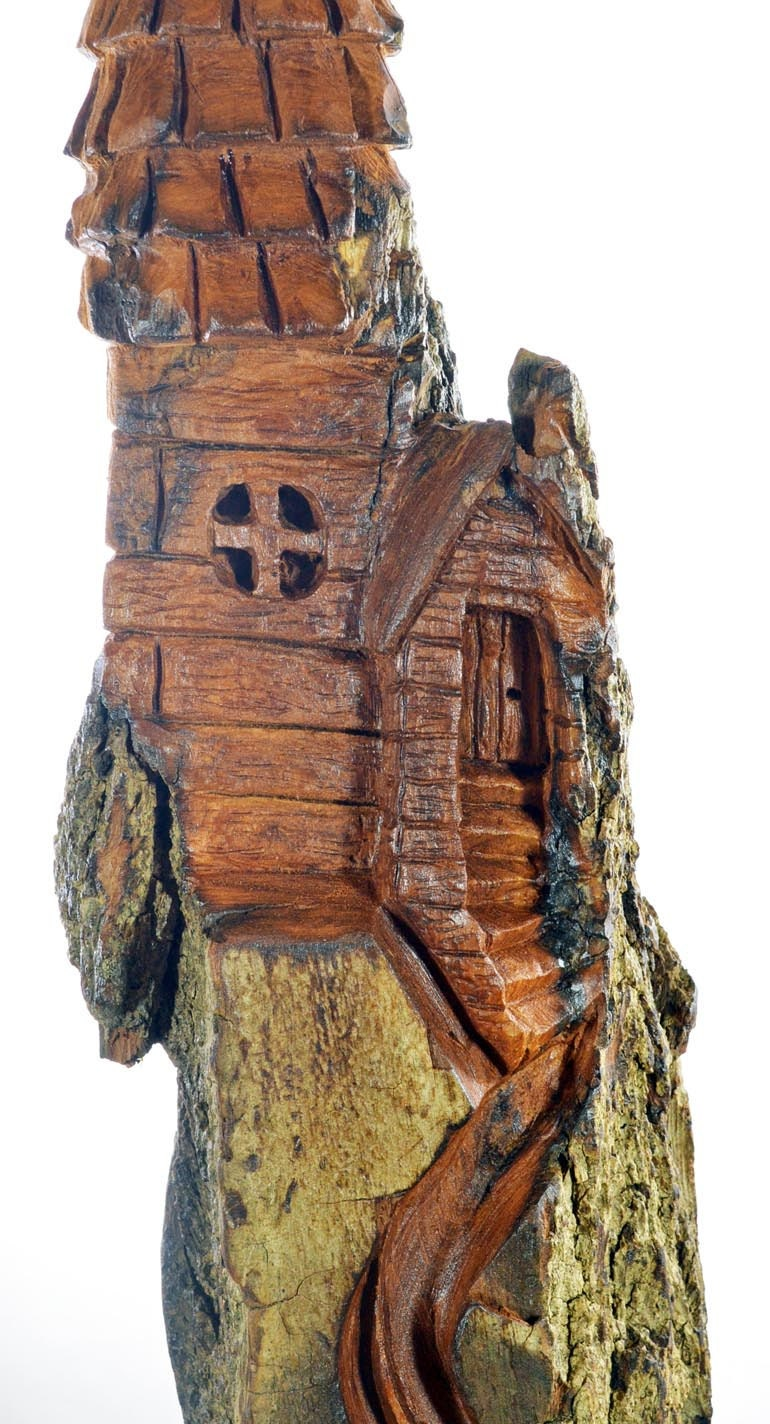Sale whimsical house wood carving unique sculpture