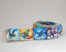 Skylanders boys belt, adjustable children belt, Vecro or D-ring easy release belt