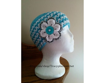 Beanie. Hat. Crochet beanie. Crochet hat. Striped beanie.Aqua and white ZigZag beanie with large flower. Handmade to order beanie.