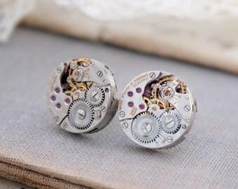 Watch Movement Stud Earrings Alternative Rocker Jewellery Sterling Silver Post Steampunk Earrings Industrial Stud Jewelry