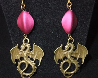 Antique Gold Dragon Earrings with Fuschia